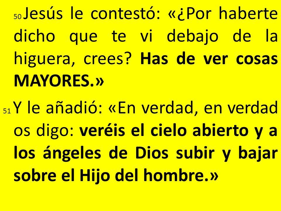 50 Jesús le contestó: «¿Por haberte dicho que te vi debajo de la higuera, crees.