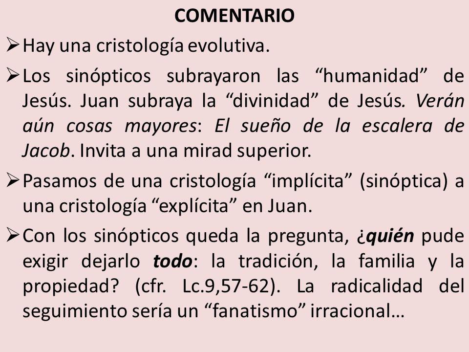 COMENTARIO Hay una cristología evolutiva.Los sinópticos subrayaron las humanidad de Jesús.