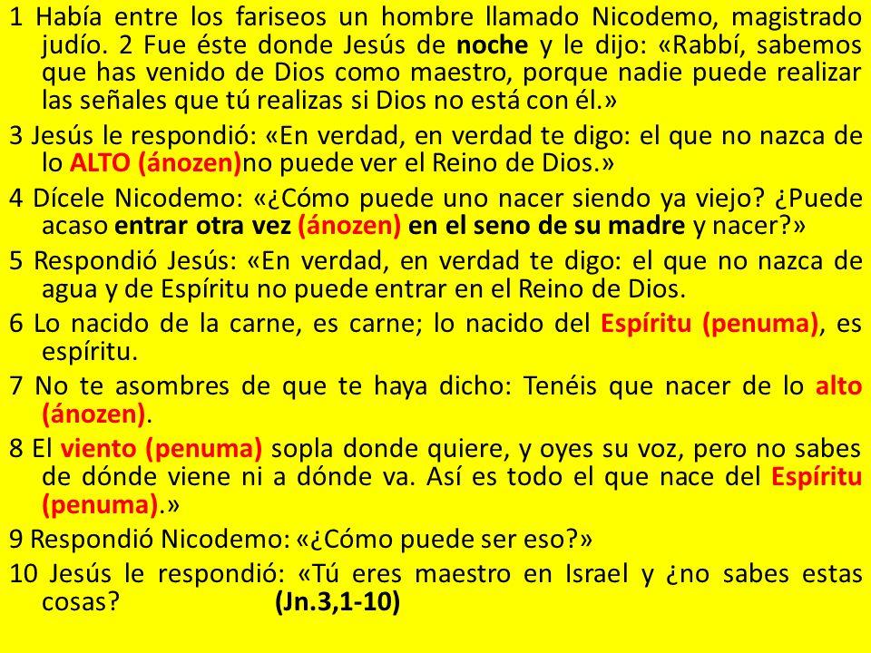 1 Había entre los fariseos un hombre llamado Nicodemo, magistrado judío.