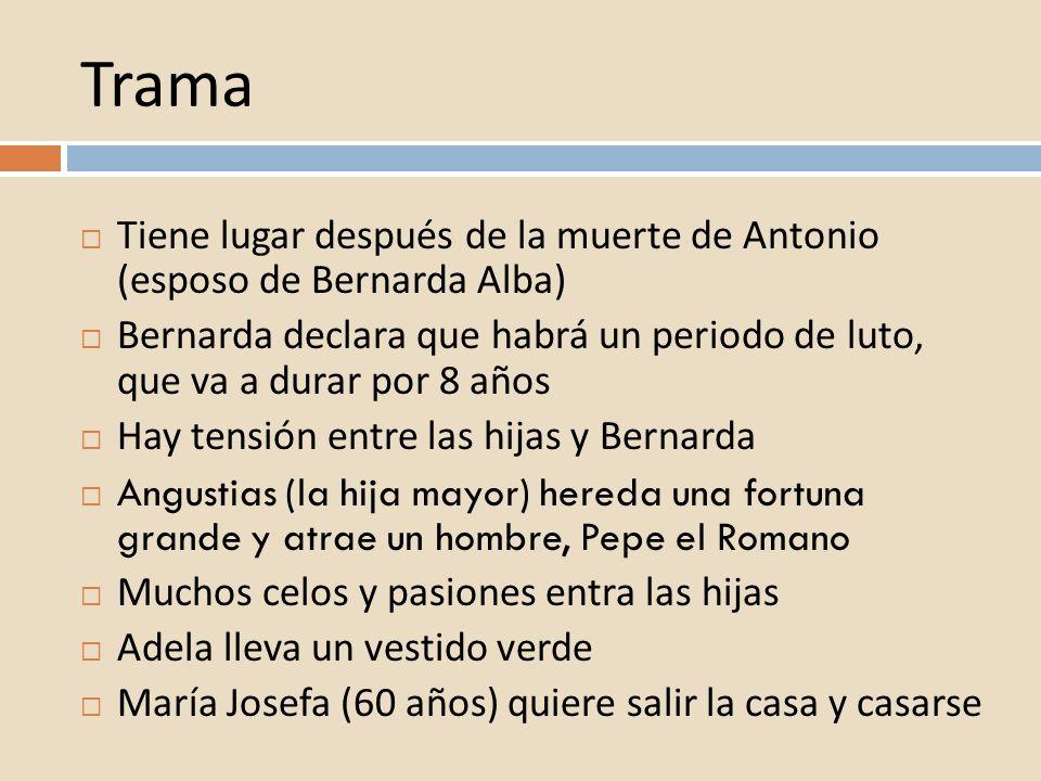 Trama Tiene lugar después de la muerte de Antonio (esposo de Bernarda Alba) Bernarda declara que habrá un periodo de luto, que va a durar por 8 años H