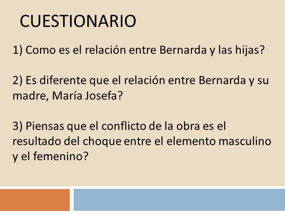CUESTIONARIO 1) Como es el relación entre Bernarda y las hijas? 2) Es diferente que el relación entre Bernarda y su madre, María Josefa? 3) Piensas qu