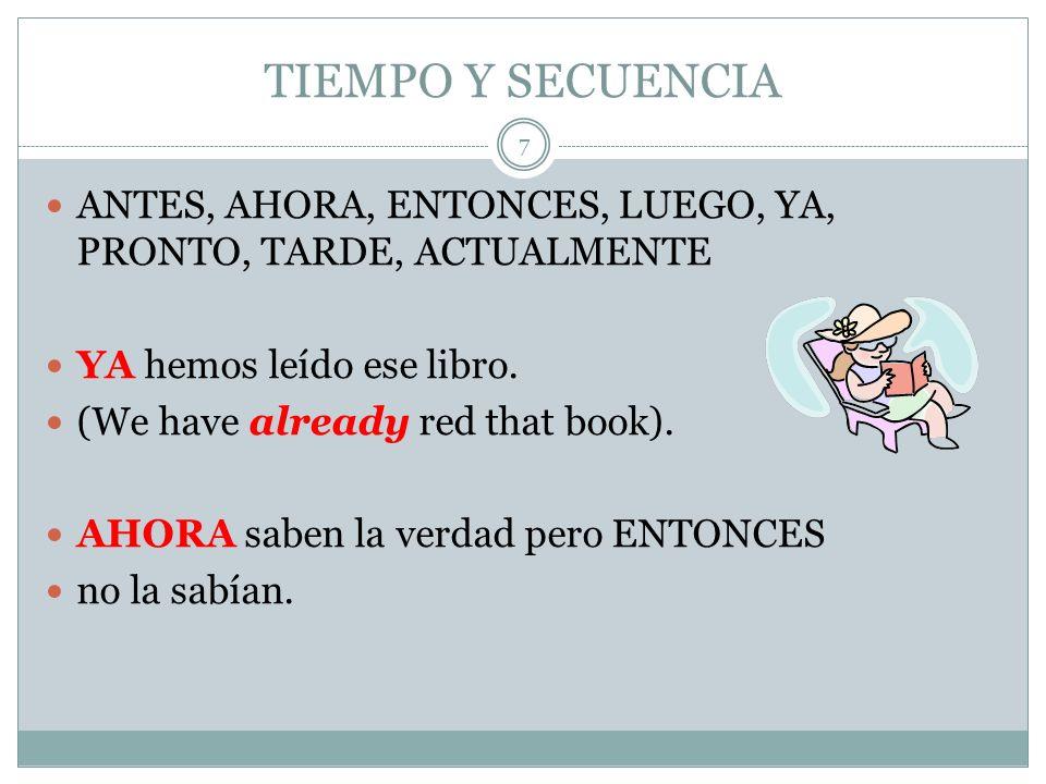 TIEMPO Y SECUENCIA ANTES, AHORA, ENTONCES, LUEGO, YA, PRONTO, TARDE, ACTUALMENTE YA hemos leído ese libro.