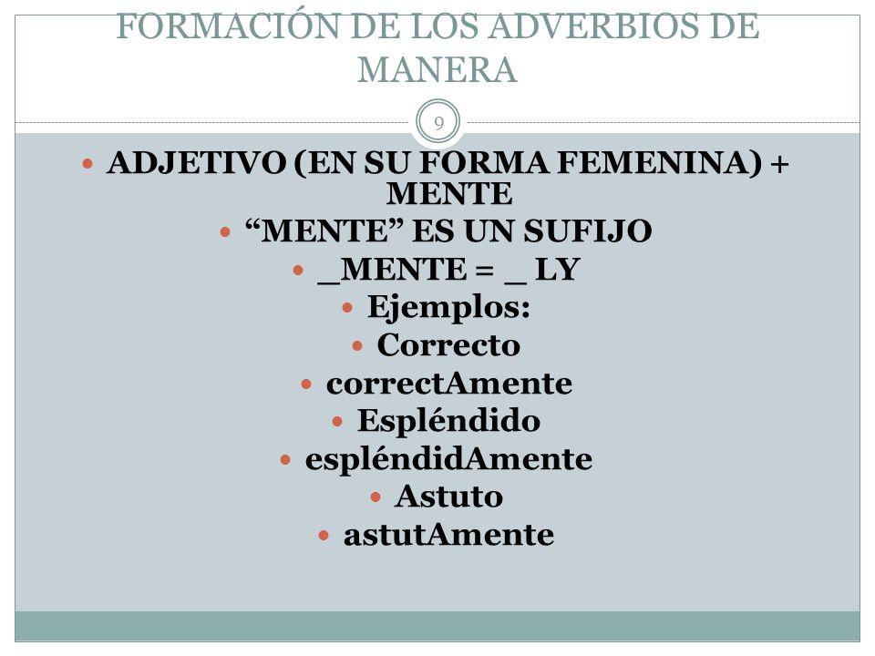FORMACIÓN DE LOS ADVERBIOS DE MANERA ADJETIVO (EN SU FORMA FEMENINA) + MENTE MENTE ES UN SUFIJO _MENTE = _ LY Ejemplos: Correcto correctAmente Espléndido espléndidAmente Astuto astutAmente 9