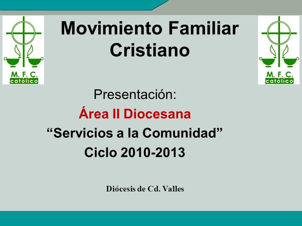 Movimiento Familiar Cristiano Presentación: Área II Diocesana Servicios a la Comunidad Ciclo 2010-2013 Diócesis de Cd.