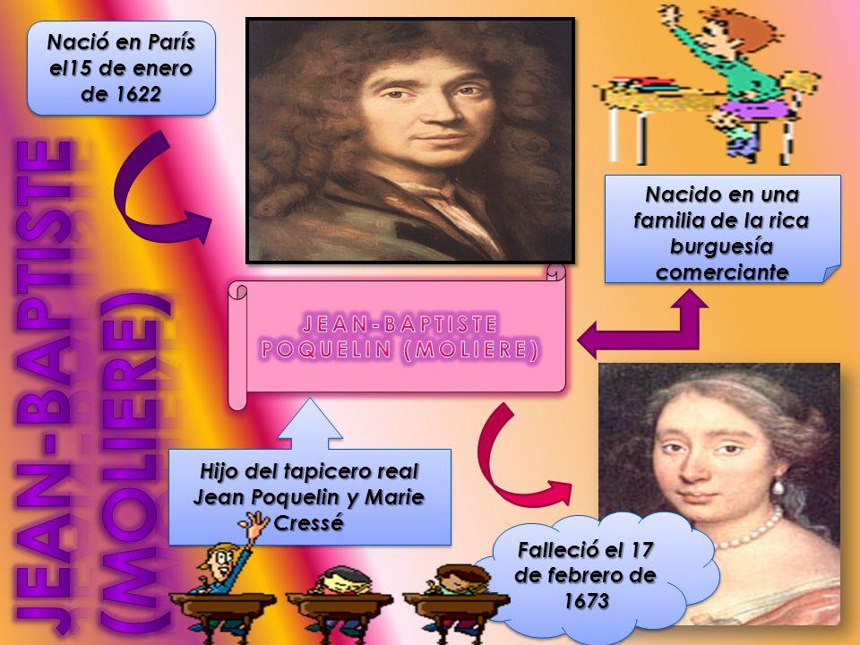 Nació en París el15 de enero de 1622 Nacido en una familia de la rica burguesía comerciante Hijo del tapicero real Jean Poquelin y Marie Cressé Falleció el 17 de febrero de 1673