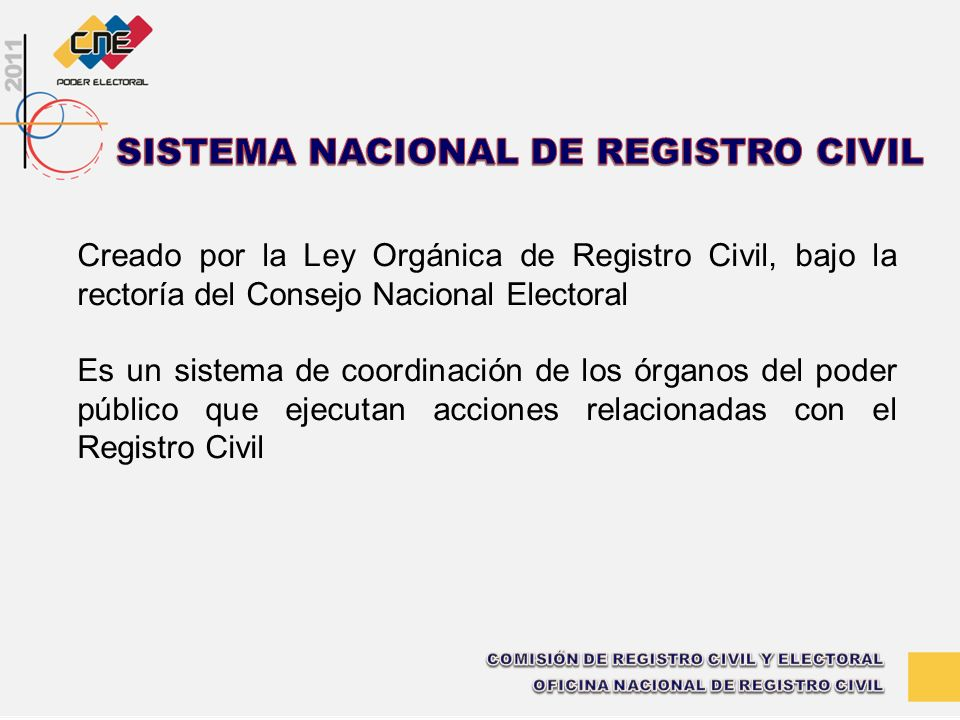 Creado por la Ley Orgánica de Registro Civil, bajo la rectoría del Consejo Nacional Electoral Es un sistema de coordinación de los órganos del poder p