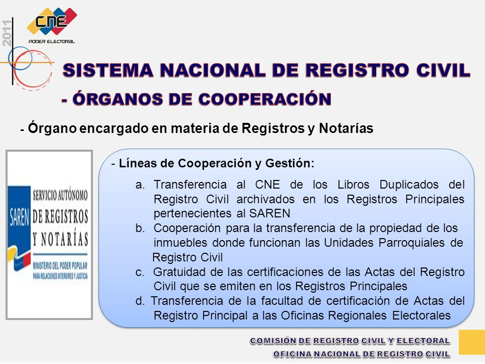 - Órgano encargado en materia de Registros y Notarías - Líneas de Cooperación y Gestión: a.Transferencia al CNE de los Libros Duplicados del Registro