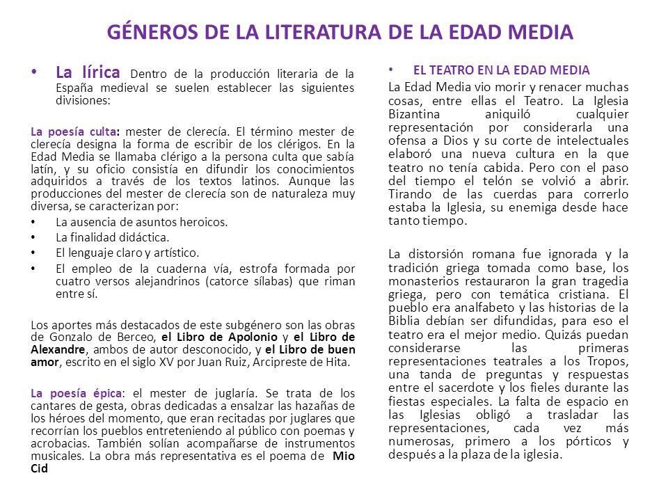 GÉNEROS DE LA LITERATURA DE LA EDAD MEDIA La lírica Dentro de la producción literaria de la España medieval se suelen establecer las siguientes divisi
