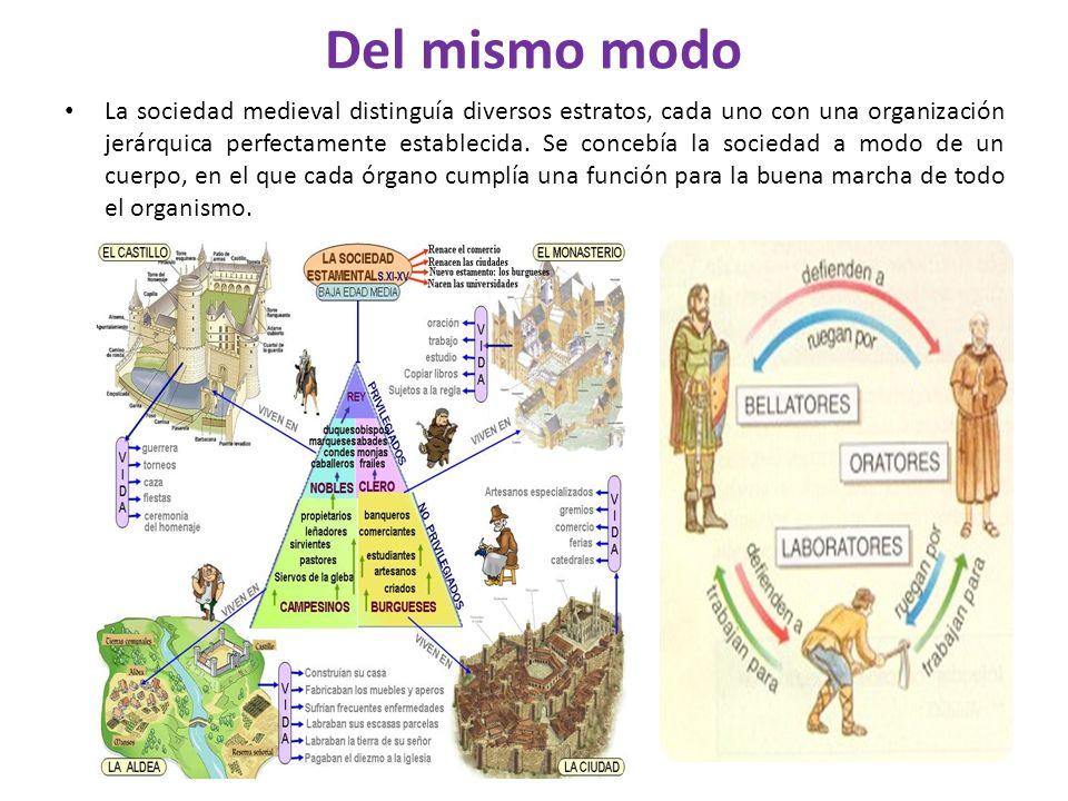 Del mismo modo La sociedad medieval distinguía diversos estratos, cada uno con una organización jerárquica perfectamente establecida. Se concebía la s