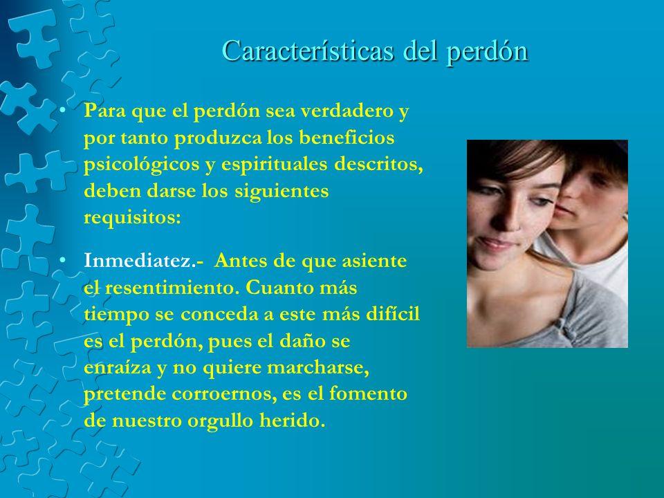 Beneficios que trae el perdón El perdonar evita enfermedades como el cáncer, la depresión, migraña, insomnio, ansiedad, angustia, dolores emocionales y la vergüenza.