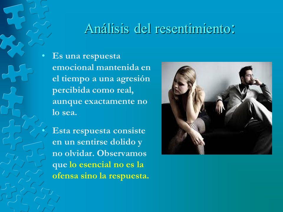 Análisis del resentimiento: El resentimiento deriva del latín RE y SENTIRE, (Sentiré) quiere decir sentir y (Re) nuevamente, o sea es volver a sentir.