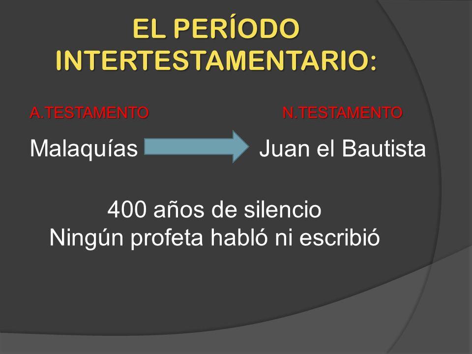 EL PERÍODO INTERTESTAMENTARIO: Malaquías Juan el Bautista 400 años de silencio Ningún profeta habló ni escribió A.TESTAMENTON.TESTAMENTO