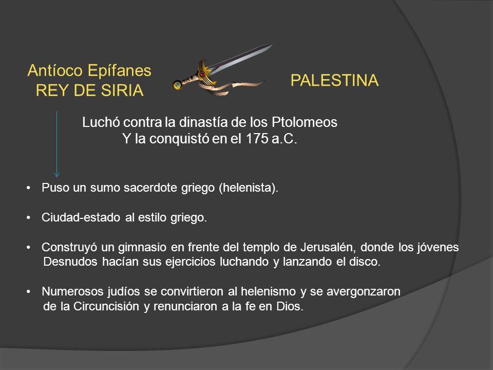 Antíoco Epífanes REY DE SIRIA PALESTINA Luchó contra la dinastía de los Ptolomeos Y la conquistó en el 175 a.C.