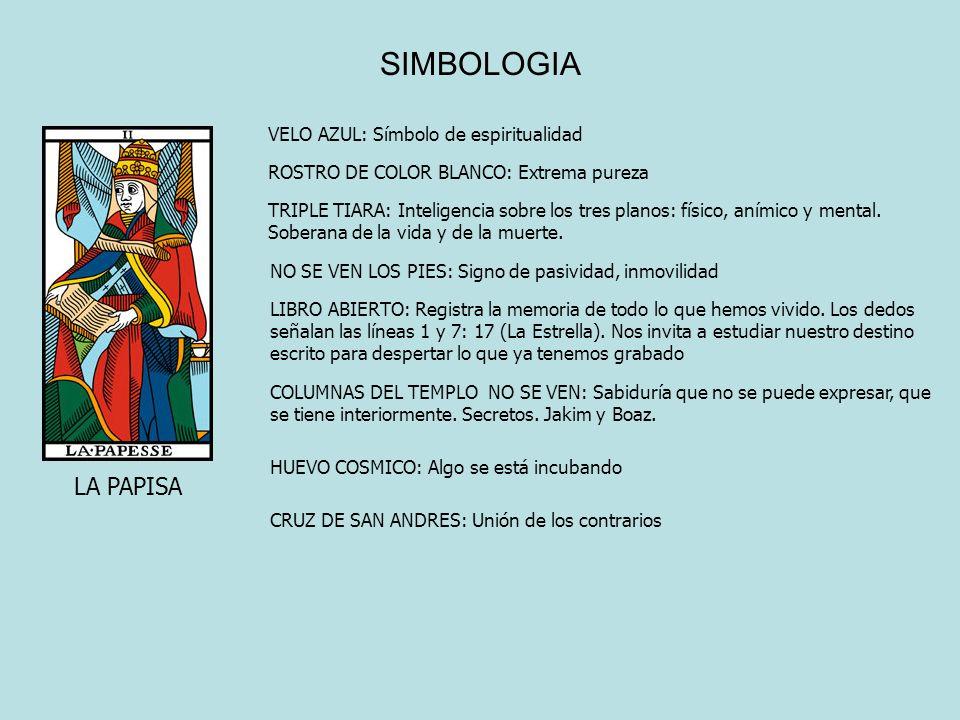 SIMBOLOGIA LA PAPISA VELO AZUL: Símbolo de espiritualidad ROSTRO DE COLOR BLANCO: Extrema pureza TRIPLE TIARA: Inteligencia sobre los tres planos: fís