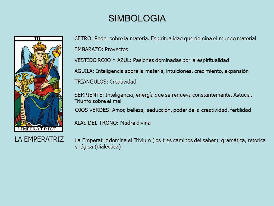 SIMBOLOGIA LA EMPERATRIZ CETRO: Poder sobre la materia. Espiritualidad que domina el mundo material EMBARAZO: Proyectos VESTIDO ROJO Y AZUL: Pasiones