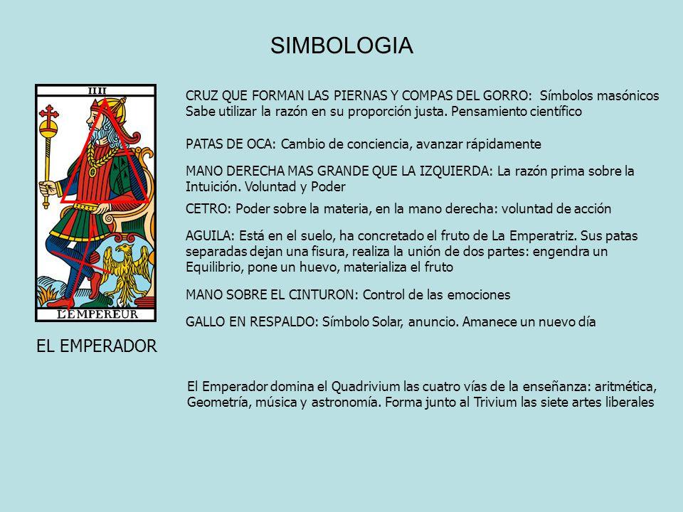 SIMBOLOGIA EL EMPERADOR CRUZ QUE FORMAN LAS PIERNAS Y COMPAS DEL GORRO: Símbolos masónicos Sabe utilizar la razón en su proporción justa. Pensamiento