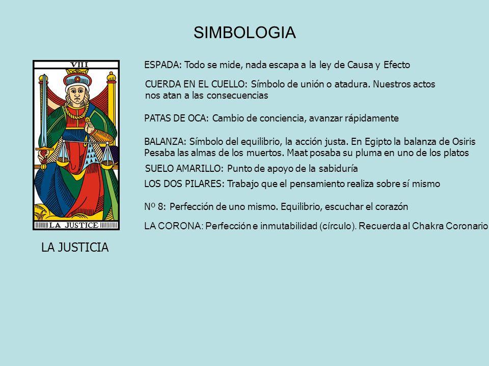 SIMBOLOGIA LA JUSTICIA ESPADA: Todo se mide, nada escapa a la ley de Causa y Efecto CUERDA EN EL CUELLO: Símbolo de unión o atadura. Nuestros actos no