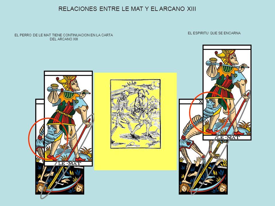 RELACIONES ENTRE LE MAT Y EL ARCANO XIII EL ESPIRITU QUE SE ENCARNA EL PERRO DE LE MAT TIENE CONTINUACION EN LA CARTA DEL ARCANO XIII