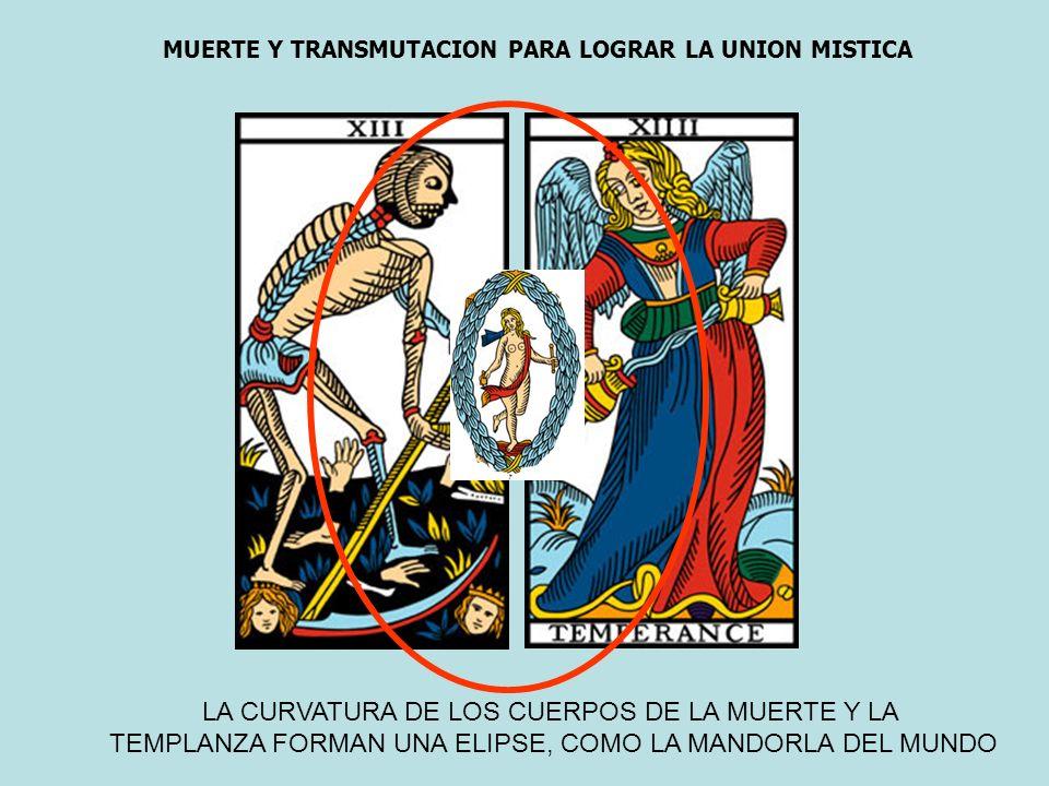LA CURVATURA DE LOS CUERPOS DE LA MUERTE Y LA TEMPLANZA FORMAN UNA ELIPSE, COMO LA MANDORLA DEL MUNDO MUERTE Y TRANSMUTACION PARA LOGRAR LA UNION MIST