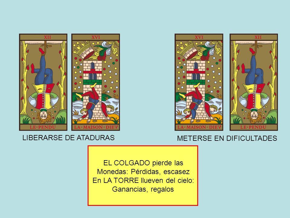EL COLGADO pierde las Monedas: Pérdidas, escasez En LA TORRE llueven del cielo: Ganancias, regalos LIBERARSE DE ATADURAS METERSE EN DIFICULTADES