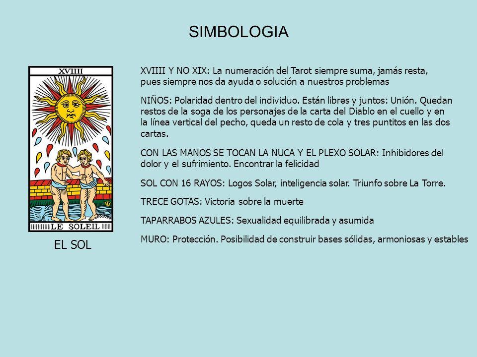 SIMBOLOGIA EL SOL XVIIII Y NO XIX: La numeración del Tarot siempre suma, jamás resta, pues siempre nos da ayuda o solución a nuestros problemas NIÑOS: