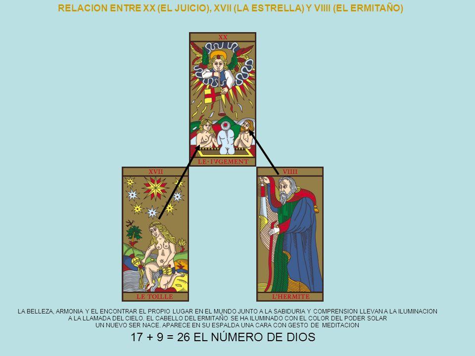 RELACION ENTRE XX (EL JUICIO), XVII (LA ESTRELLA) Y VIIII (EL ERMITAÑO) LA BELLEZA, ARMONIA Y EL ENCONTRAR EL PROPIO LUGAR EN EL MUNDO JUNTO A LA SABI