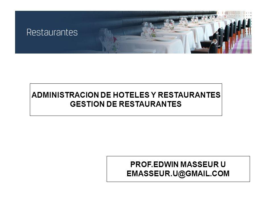 ADMINISTRACION DE HOTELES Y RESTAURANTES GESTION DE RESTAURANTES PROF.EDWIN MASSEUR U EMASSEUR.U@GMAIL.COM