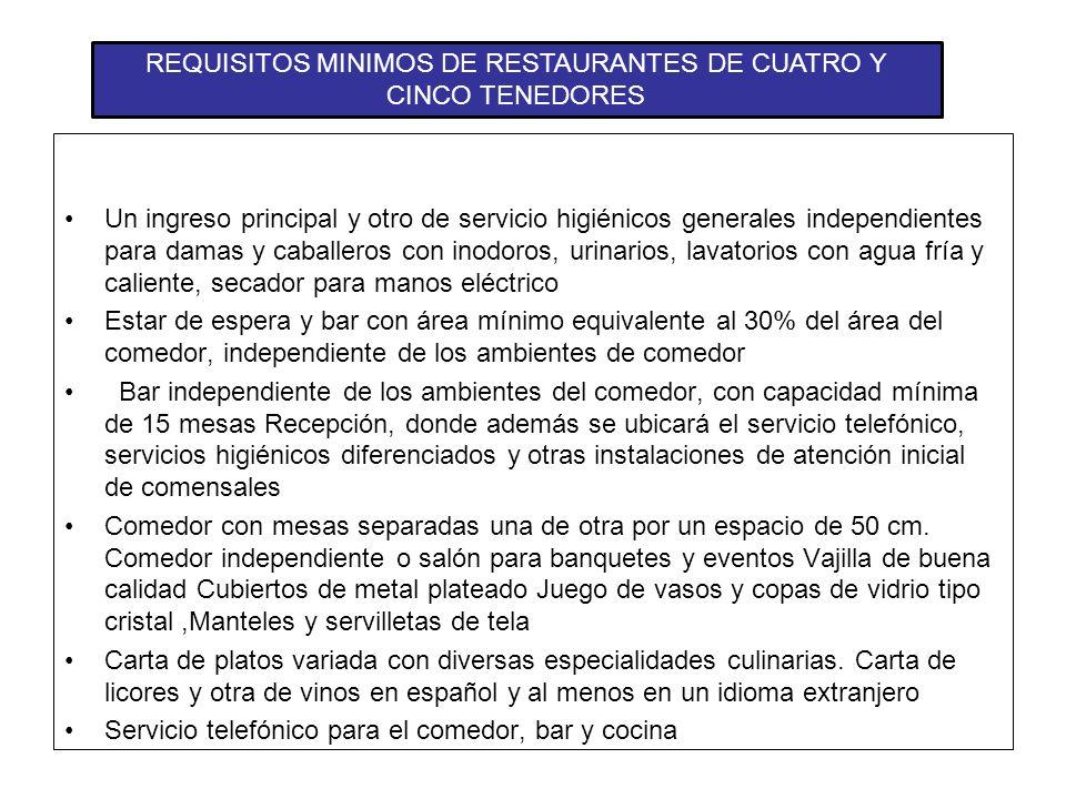 CLASIFICACIÓN DE LOS RESTAURANTES CATEGORIZACIÓN: De primera: 5 y 4 tenedores De segunda: 3 y 2 tenedores De tercera: 1 tenedor Restaurante Turístico: