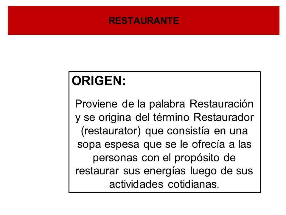 DEFINICIÓN RESTAURANTE: Establecimiento destinado al servicio de Comidas y Bebidas, en base a un precio determinado y servido en el mismo local.