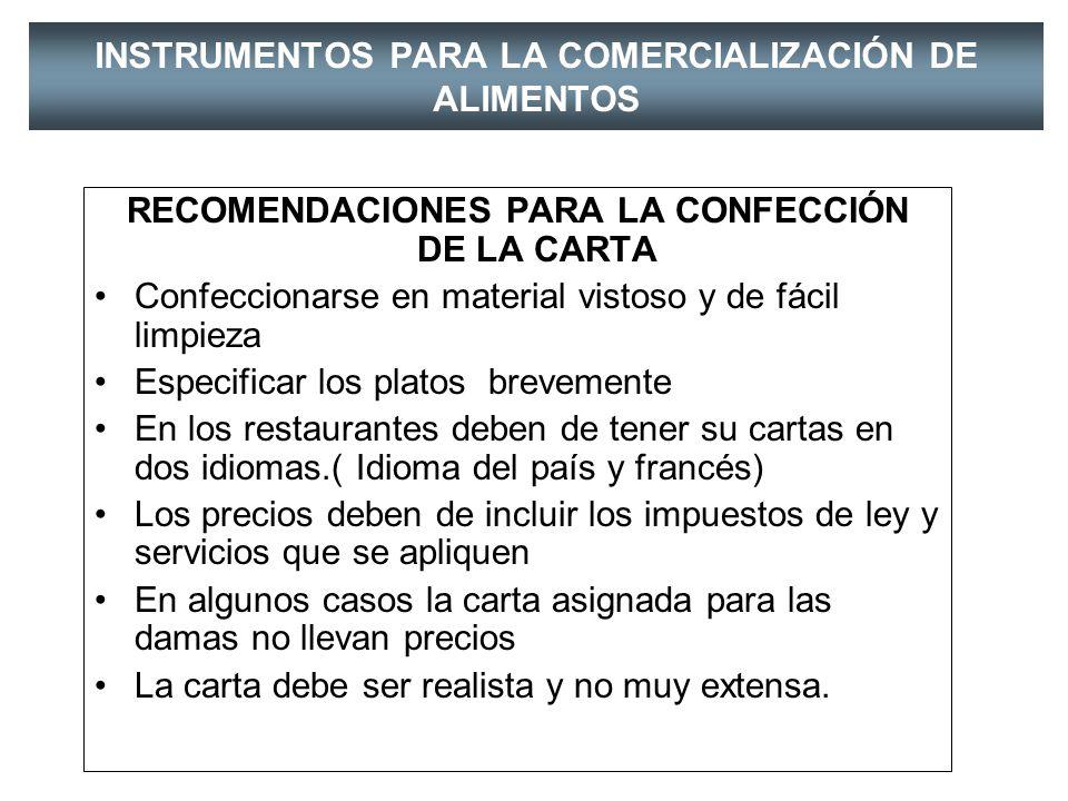 INSTRUMENTOS PARA LA COMERCIALIZACIÓN DE ALIMENTOS CARTA DE VINOS IMPORTADOS, NACIONALES, BLANCOS TINTOS,ROSADOS,ESPUMANTES