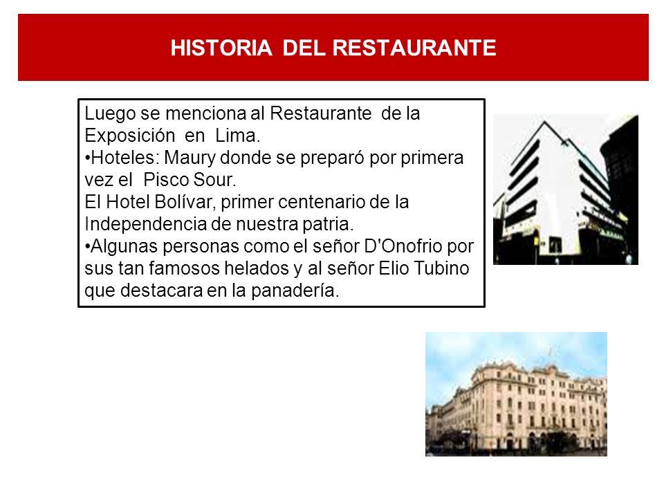 HISTORIA DEL RESTAURANTE. EL RESTAURANTE EN EL PERÚ: El primer establecimiento fue el Café de la Calle el Correo, Luego en la época Republicana se con