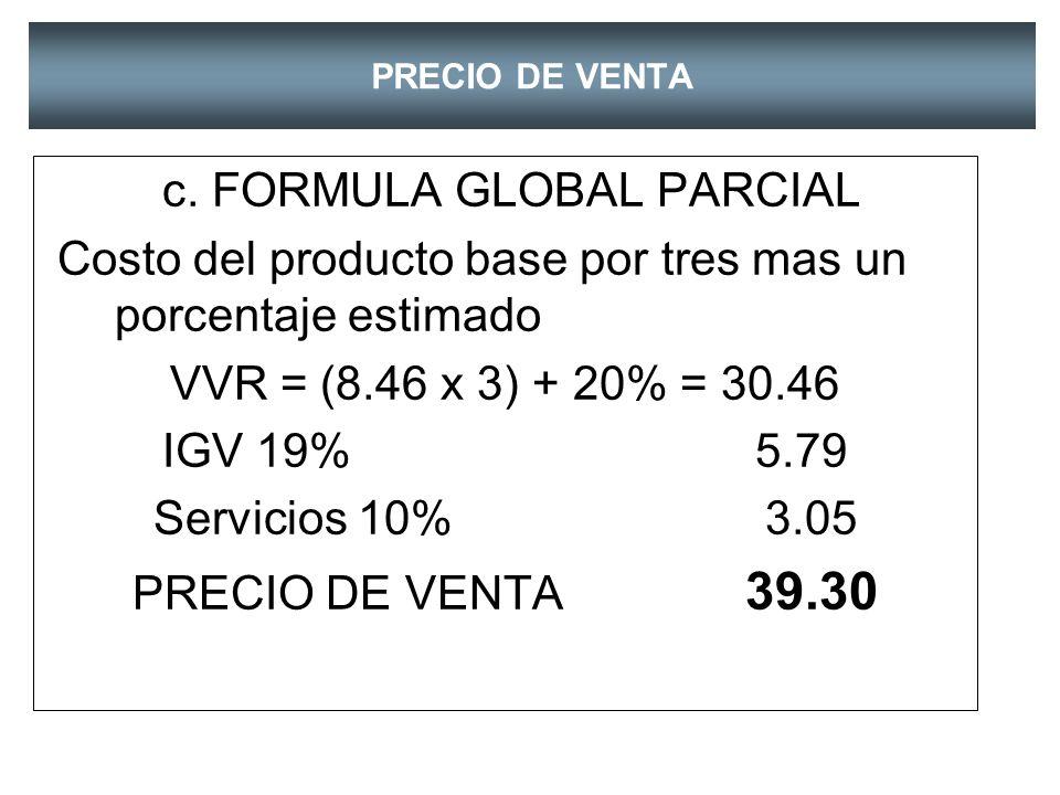 PRECIO DE VENTA b. FORMULA GLOBAL VVR =C. E. x 3 9.80*3 = 29.40 IGV 19% 5.59 Servicios 10% 2.94 PRECIO VENTA 37.93