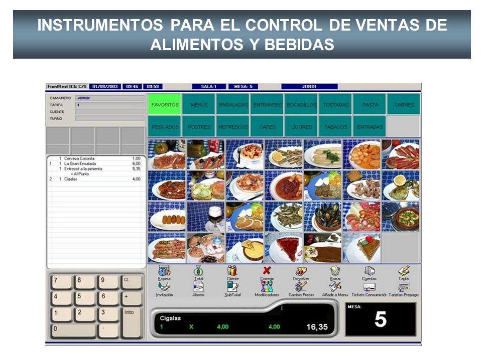 INSTRUMENTOS PARA EL CONTROL DE VENTAS DE ALIMENTOS Y BEBIDAS LA COMANDA Permite el control de los insumos despachados del almacén; así mismo es utili