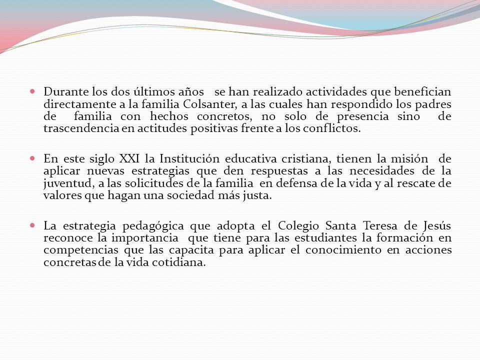 Durante los dos últimos años se han realizado actividades que benefician directamente a la familia Colsanter, a las cuales han respondido los padres d