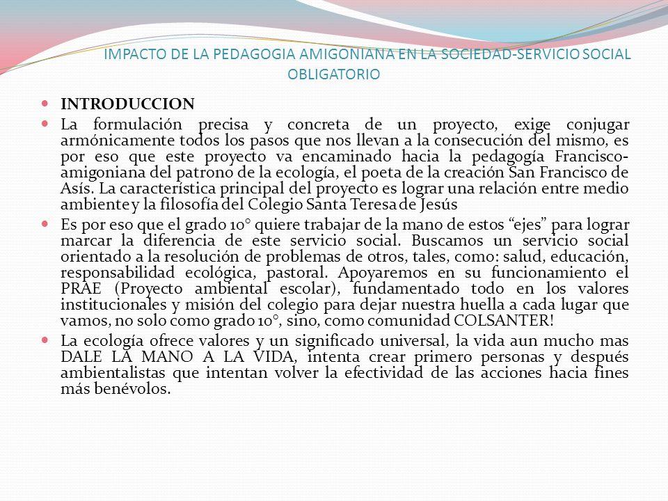 IMPACTO DE LA PEDAGOGIA AMIGONIANA EN LA SOCIEDAD-SERVICIO SOCIAL OBLIGATORIO INTRODUCCION La formulación precisa y concreta de un proyecto, exige con