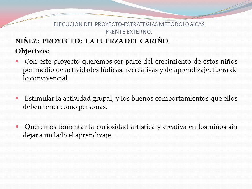 EJECUCIÓN DEL PROYECTO-ESTRATEGIAS METODOLOGICAS FRENTE EXTERNO. NIÑEZ: PROYECTO: LA FUERZA DEL CARIÑO Objetivos: Con este proyecto queremos ser parte