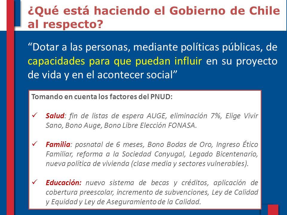 10 ¿Qué está haciendo el Gobierno de Chile al respecto? Dotar a las personas, mediante políticas públicas, de capacidades para que puedan influir en s