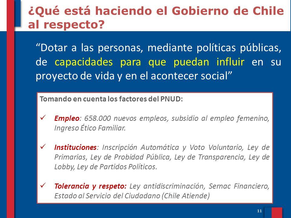 11 ¿Qué está haciendo el Gobierno de Chile al respecto? Dotar a las personas, mediante políticas públicas, de capacidades para que puedan influir en s