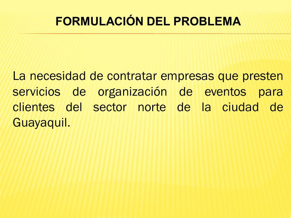 La necesidad de contratar empresas que presten servicios de organización de eventos para clientes del sector norte de la ciudad de Guayaquil.