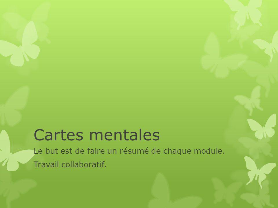 Cartes mentales Le but est de faire un résumé de chaque module. Travail collaboratif.