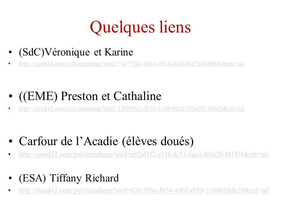 Quelques liens (SdC)Véronique et Karine http://mind42.com/pub/mindmap?mid=7a477fdc-6931-4f14-abcd-f6e7886d8940&rel=url ((EME) Preston et Cathaline htt