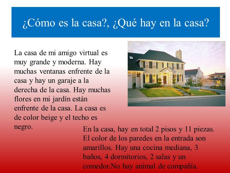 ¿Cómo es la casa?, ¿Qué hay en la casa? La casa de mi amigo virtual es muy grande y moderna. Hay muchas ventanas enfrente de la casa y hay un garaje a