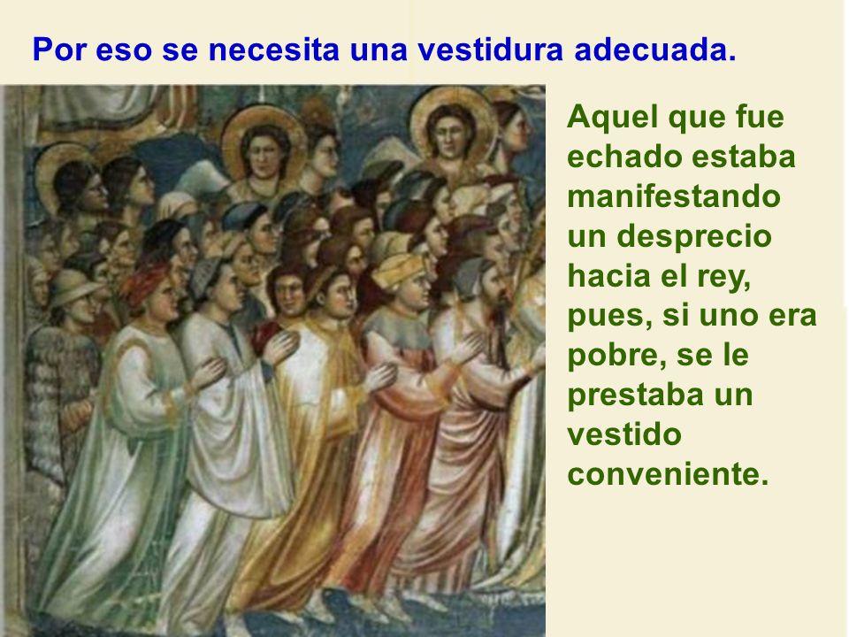 Continúa la parábola: Dios invita a todos. Todos pueden entrar en el Reino, buenos y malos. Pero para permanecer allí, debe haber una actitud de cambi