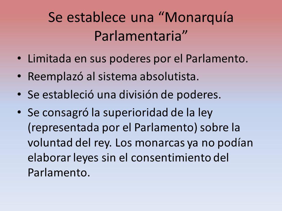 Se establece una Monarquía Parlamentaria Limitada en sus poderes por el Parlamento. Reemplazó al sistema absolutista. Se estableció una división de po