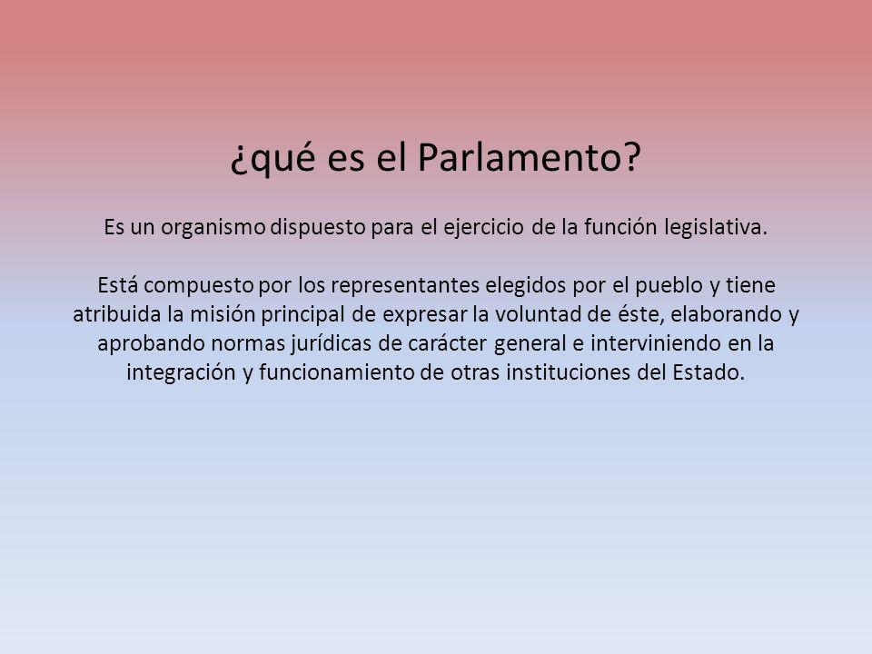¿qué es el Parlamento? Es un organismo dispuesto para el ejercicio de la función legislativa. Está compuesto por los representantes elegidos por el pu