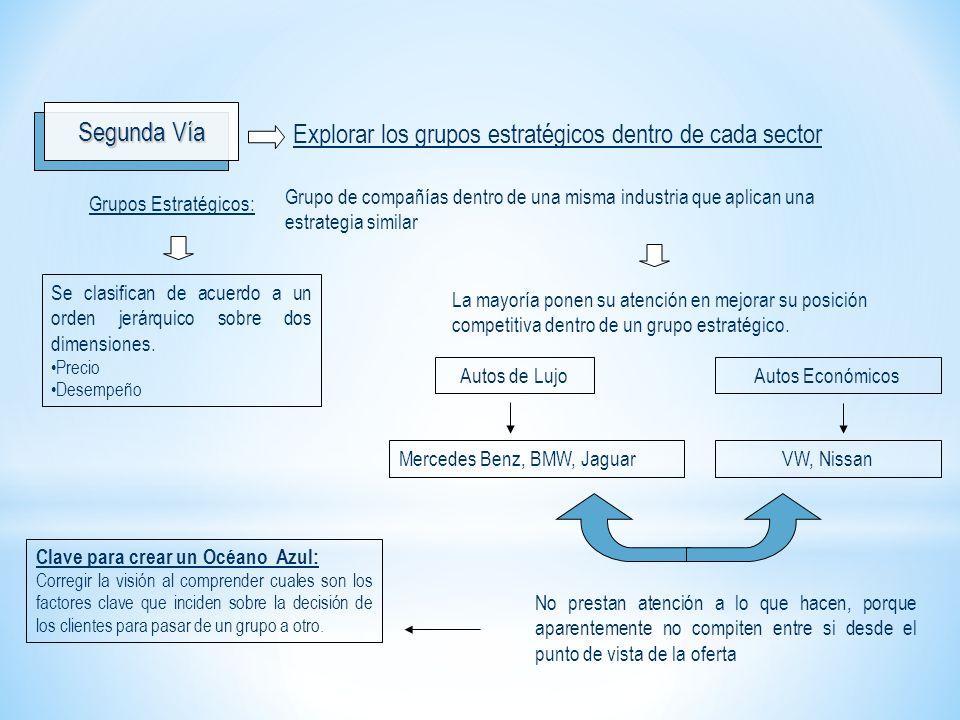Segunda Vía Explorar los grupos estratégicos dentro de cada sector Grupo de compañías dentro de una misma industria que aplican una estrategia similar