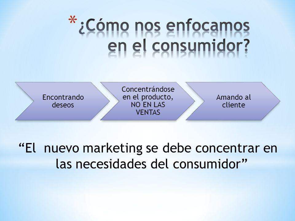 Encontrando deseos Concentrándose en el producto, NO EN LAS VENTAS Amando al cliente El nuevo marketing se debe concentrar en las necesidades del cons