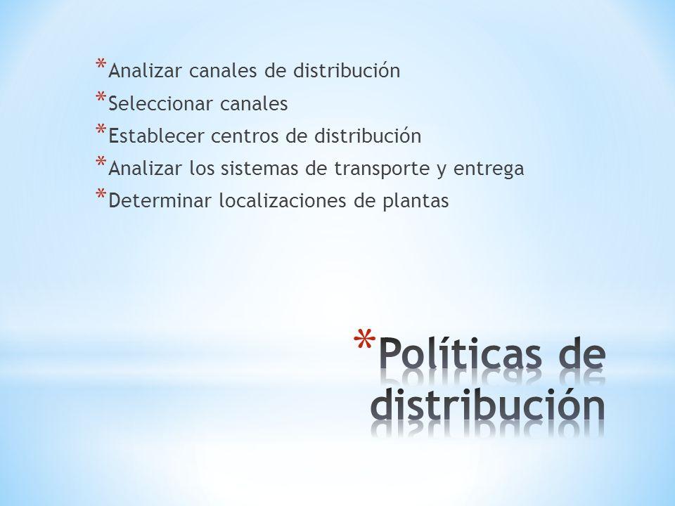 * Analizar canales de distribución * Seleccionar canales * Establecer centros de distribución * Analizar los sistemas de transporte y entrega * Determ