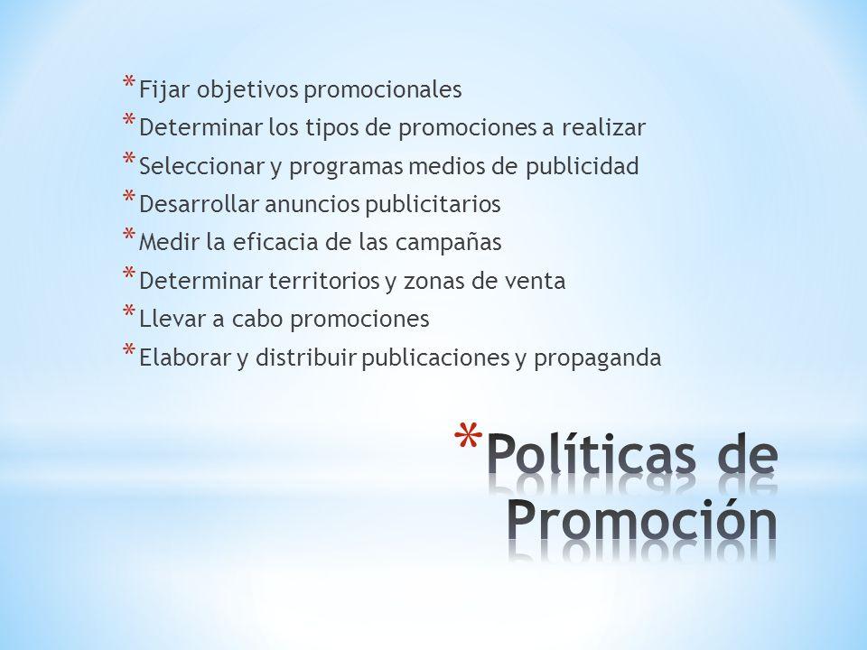 * Fijar objetivos promocionales * Determinar los tipos de promociones a realizar * Seleccionar y programas medios de publicidad * Desarrollar anuncios