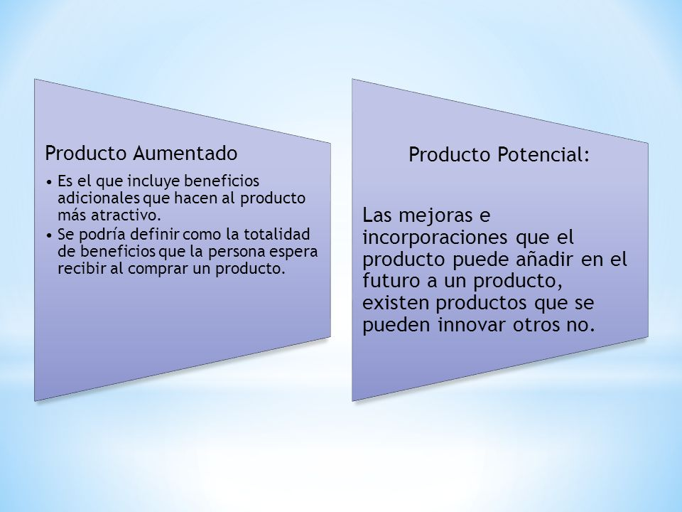 Producto Aumentado Es el que incluye beneficios adicionales que hacen al producto más atractivo. Se podría definir como la totalidad de beneficios que